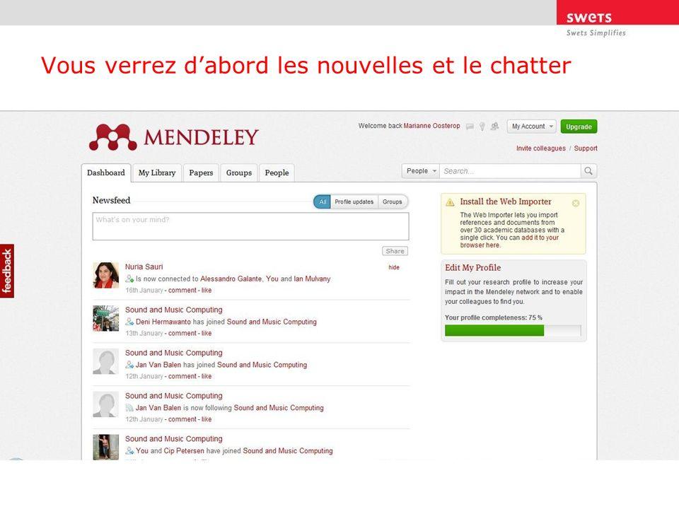 Lorsque vous démarrez Mendeley Institutional Edition, comme administrator, généralement le bibliothécaire, le plus intéressant se trouve au niveau des groupes.