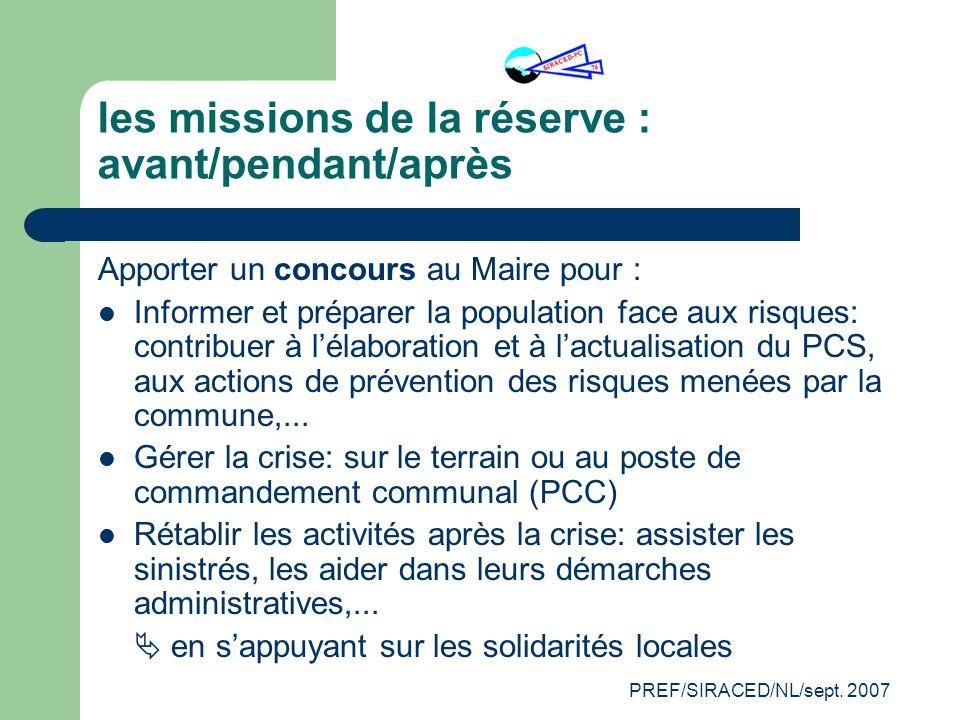 PREF/SIRACED/NL/sept. 2007 les missions de la réserve : avant/pendant/après Apporter un concours au Maire pour : Informer et préparer la population fa