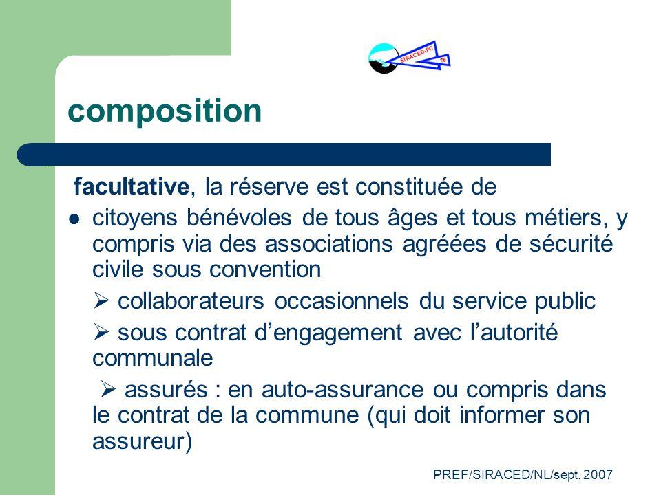 PREF/SIRACED/NL/sept. 2007 composition facultative, la réserve est constituée de citoyens bénévoles de tous âges et tous métiers, y compris via des as