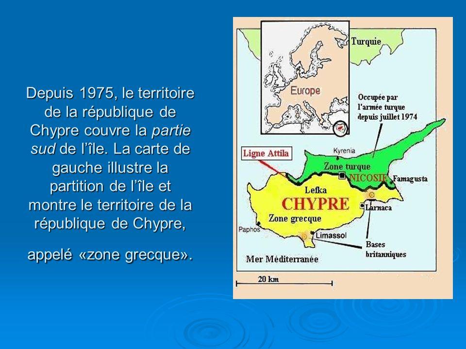 Depuis 1975, le territoire de la république de Chypre couvre la partie sud de lîle.