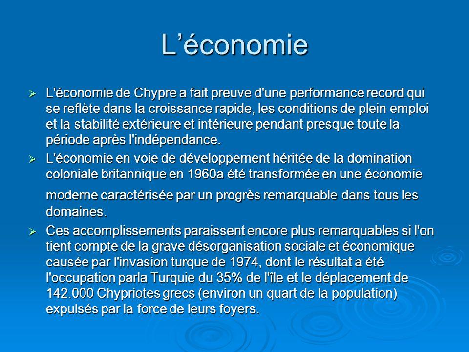 Léconomie L économie de Chypre a fait preuve d une performance record qui se reflète dans la croissance rapide, les conditions de plein emploi et la stabilité extérieure et intérieure pendant presque toute la période après l indépendance.
