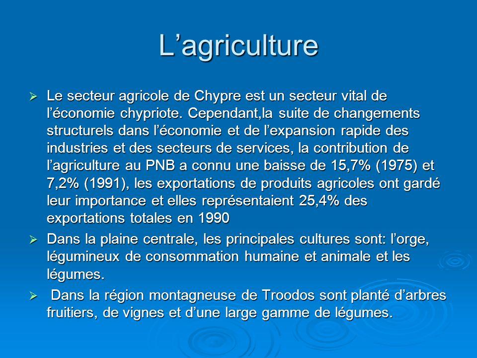 Lagriculture Le secteur agricole de Chypre est un secteur vital de léconomie chypriote.