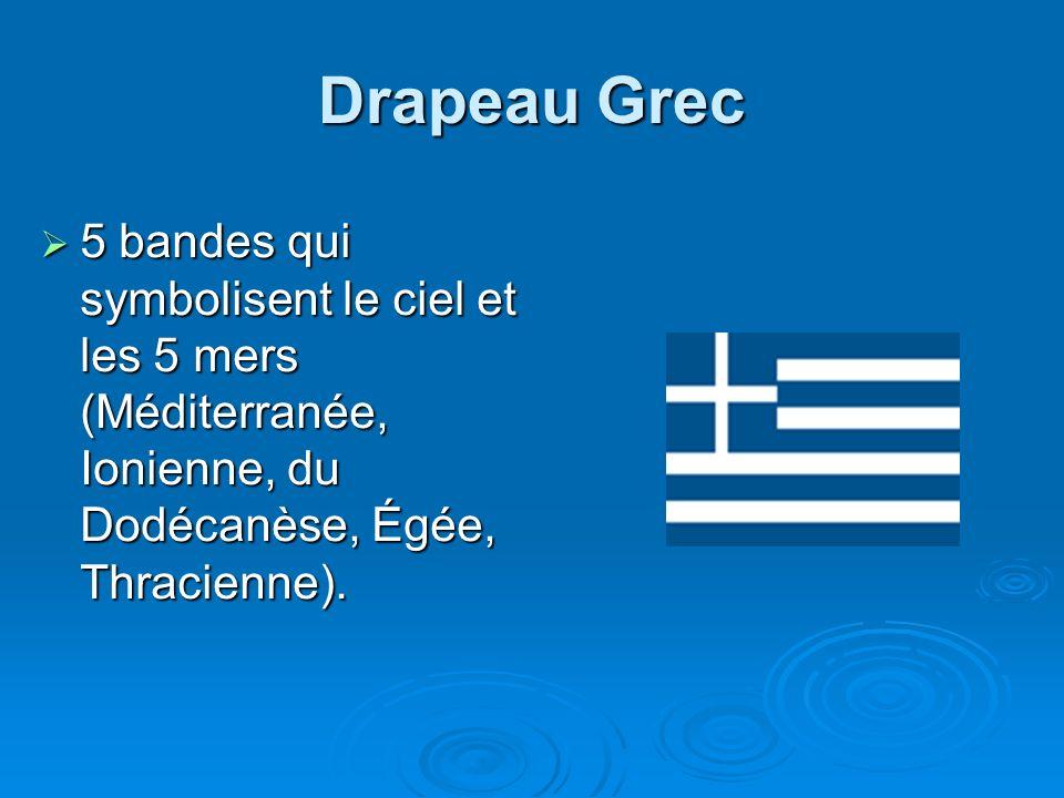 Drapeau Grec 5 bandes qui symbolisent le ciel et les 5 mers (Méditerranée, Ionienne, du Dodécanèse, Égée, Thracienne).