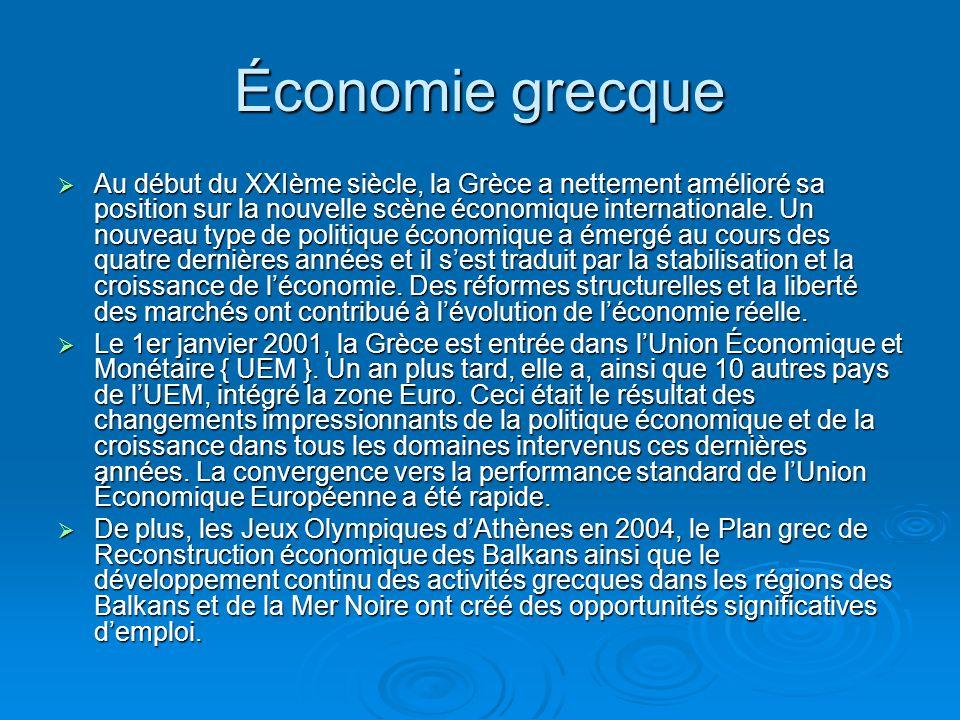 Économie grecque Au début du XXIème siècle, la Grèce a nettement amélioré sa position sur la nouvelle scène économique internationale.