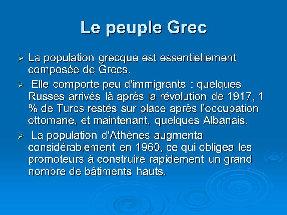 Le peuple Grec La population grecque est essentiellement composée de Grecs.