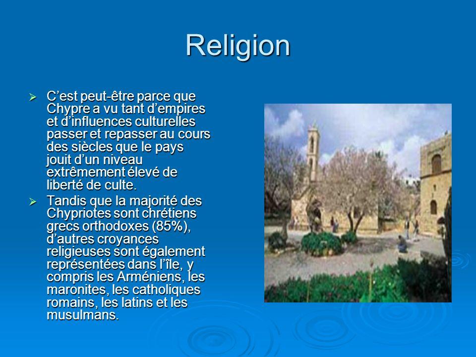 Religion Cest peut-être parce que Chypre a vu tant dempires et dinfluences culturelles passer et repasser au cours des siècles que le pays jouit dun niveau extrêmement élevé de liberté de culte.