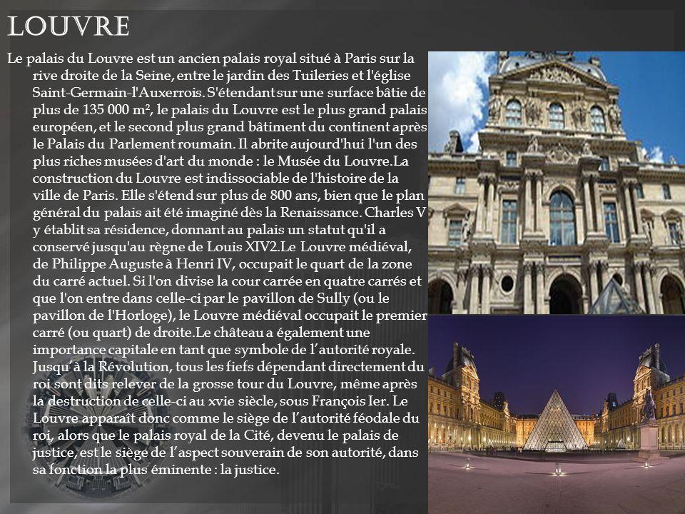 Louvre Le palais du Louvre est un ancien palais royal situé à Paris sur la rive droite de la Seine, entre le jardin des Tuileries et l église Saint-Germain-l Auxerrois.