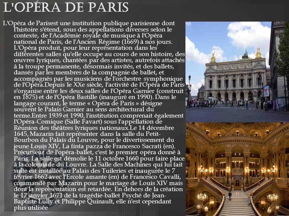 L Opéra de Paris L Opéra de Parisest une institution publique parisienne dont l histoire s étend, sous des appellations diverses selon le contexte, de l Académie royale de musique à l Opéra national de Paris, de l Ancien Régime (1669) à nos jours.