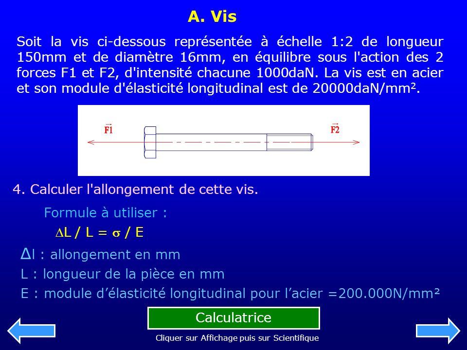 A. Vis Soit la vis ci-dessous représentée à échelle 1:2 de longueur 150mm et de diamètre 16mm, en équilibre sous l'action des 2 forces F1 et F2, d'int