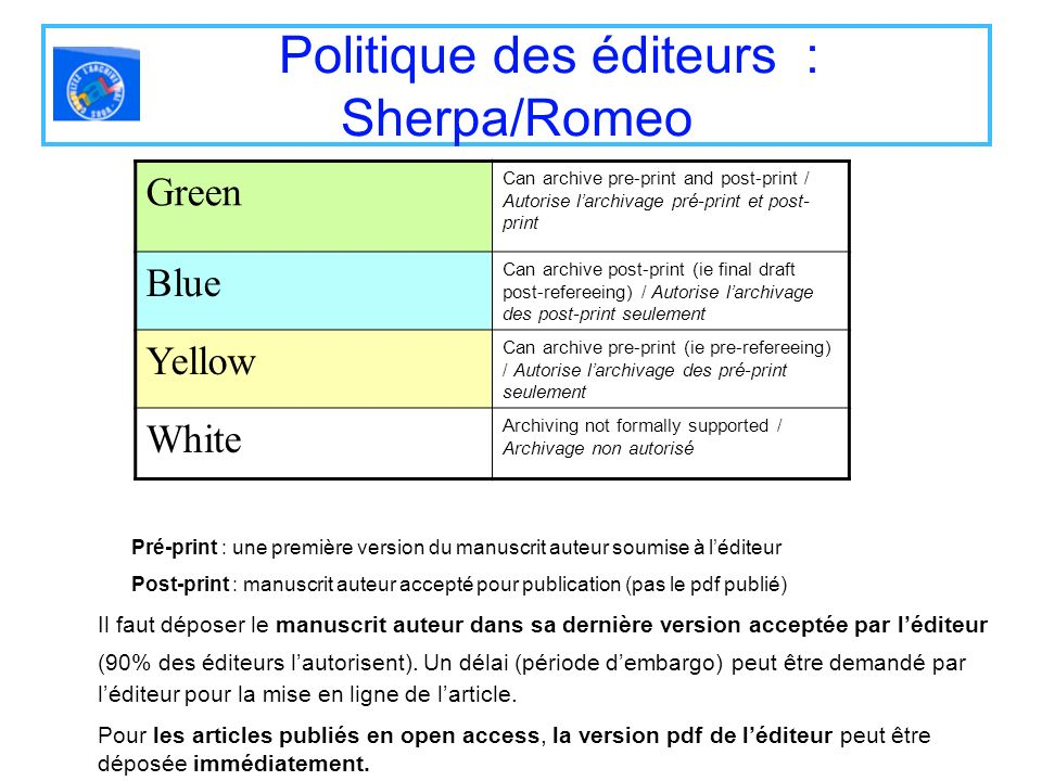 Politique des éditeurs : Sherpa/Romeo Green Can archive pre-print and post-print / Autorise larchivage pré-print et post- print Blue Can archive post-