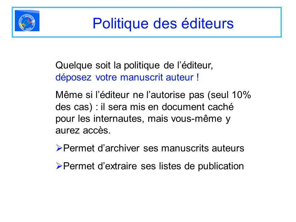 Politique des éditeurs Quelque soit la politique de léditeur, déposez votre manuscrit auteur ! Même si léditeur ne lautorise pas (seul 10% des cas) :