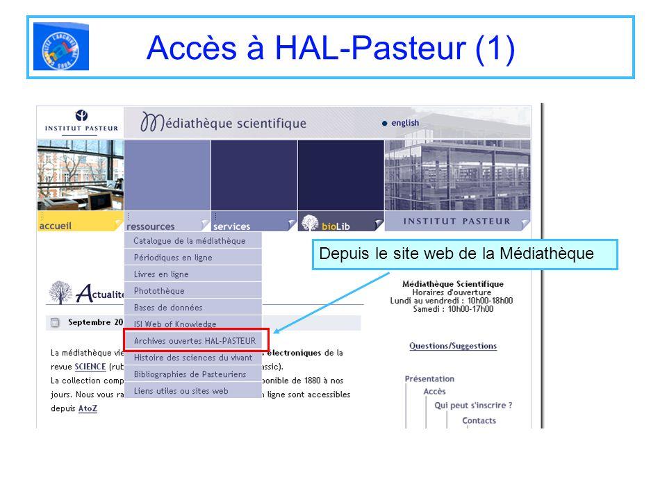 Accès à HAL-Pasteur (1) Depuis le site web de la Médiathèque
