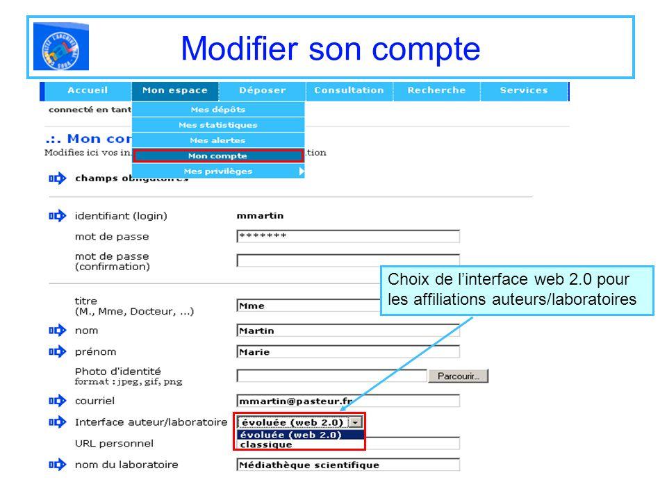 Modifier son compte Choix de linterface web 2.0 pour les affiliations auteurs/laboratoires
