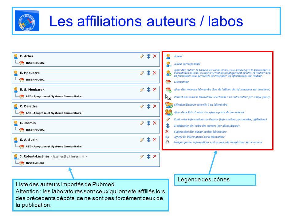 Les affiliations auteurs / labos Légende des icônes Liste des auteurs importés de Pubmed. Attention : les laboratoires sont ceux qui ont été affiliés