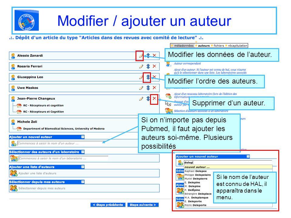 Modifier / ajouter un auteur Modifier les données de lauteur. Modifier lordre des auteurs. Supprimer dun auteur. Si on nimporte pas depuis Pubmed, il