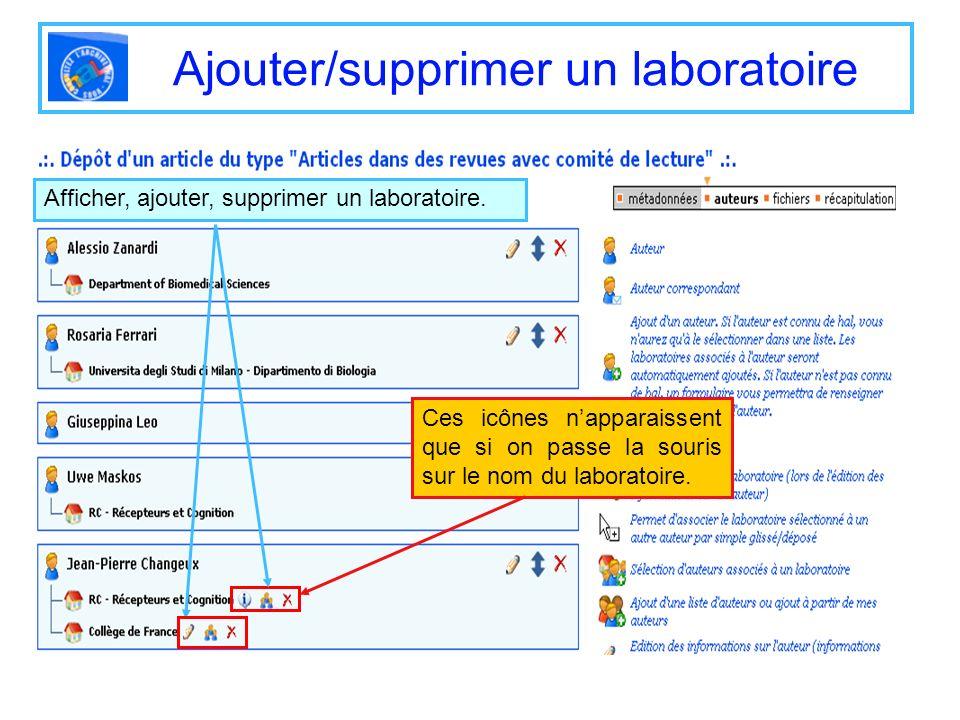 Ajouter/supprimer un laboratoire Afficher, ajouter, supprimer un laboratoire. Ces icônes napparaissent que si on passe la souris sur le nom du laborat