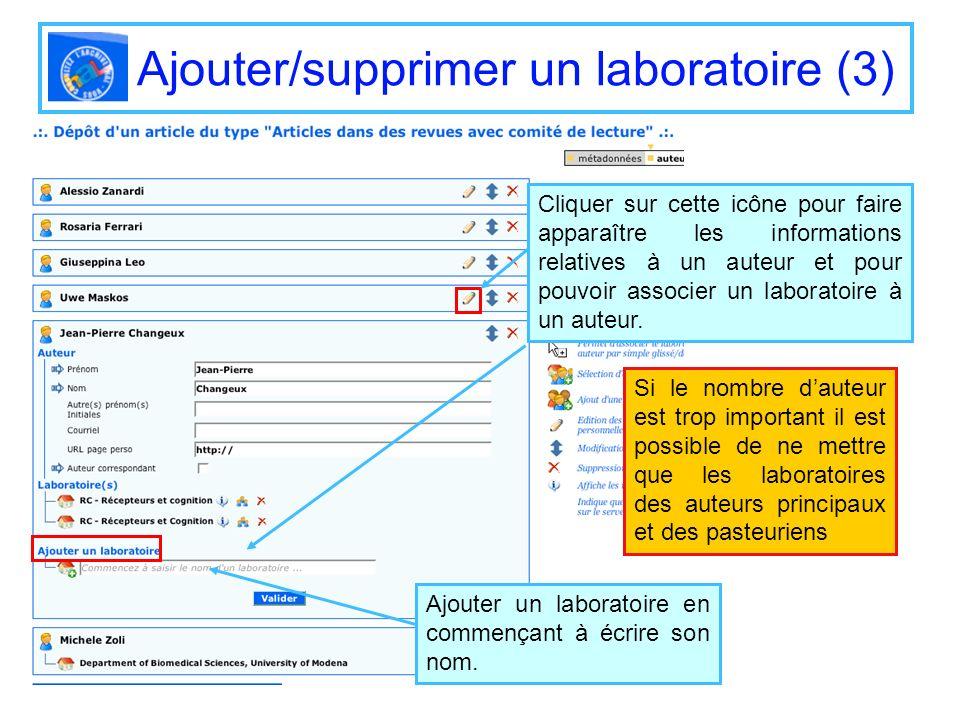 Ajouter/supprimer un laboratoire (3) Cliquer sur cette icône pour faire apparaître les informations relatives à un auteur et pour pouvoir associer un