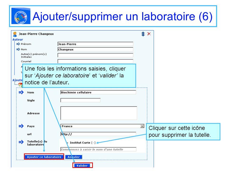 Ajouter/supprimer un laboratoire (6) Une fois les informations saisies, cliquer sur Ajouter ce laboratoire et valider la notice de lauteur. Cliquer su