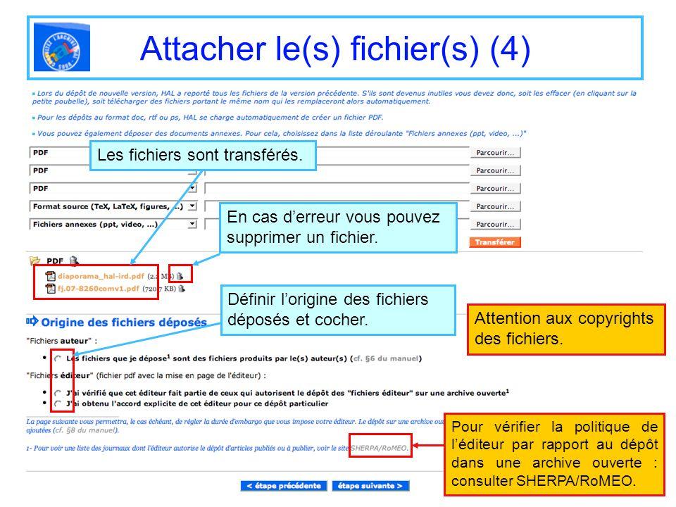 Attacher le(s) fichier(s) (4) Attention aux copyrights des fichiers. Les fichiers sont transférés. Définir lorigine des fichiers déposés et cocher. En