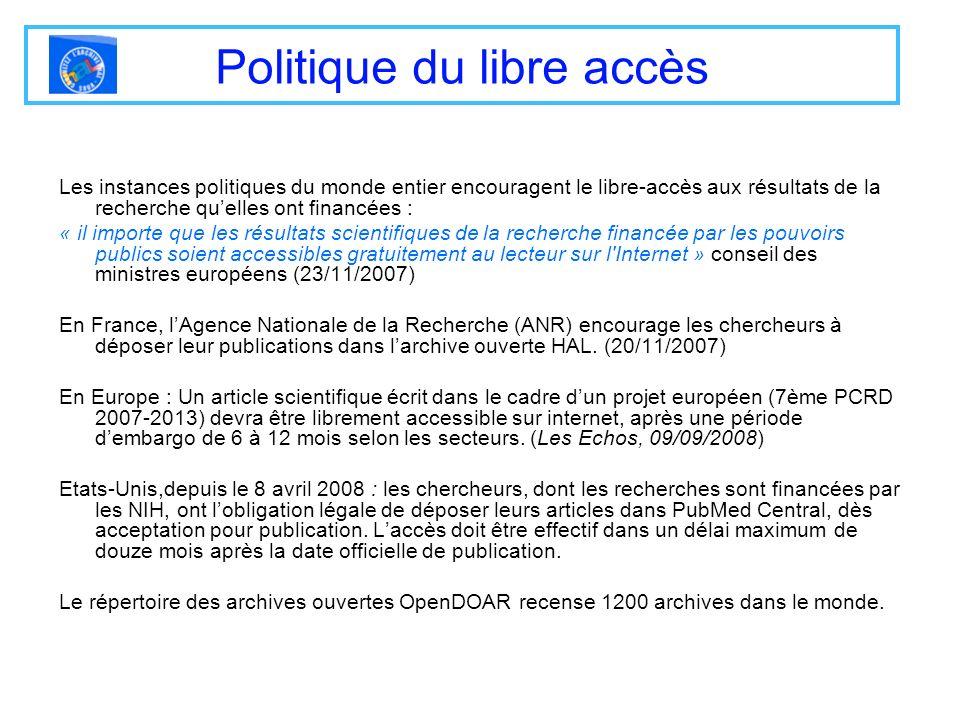 Linterface HAL-Pasteur (2) Il nest pas nécessaire de sinscrire pour consulter les articles.