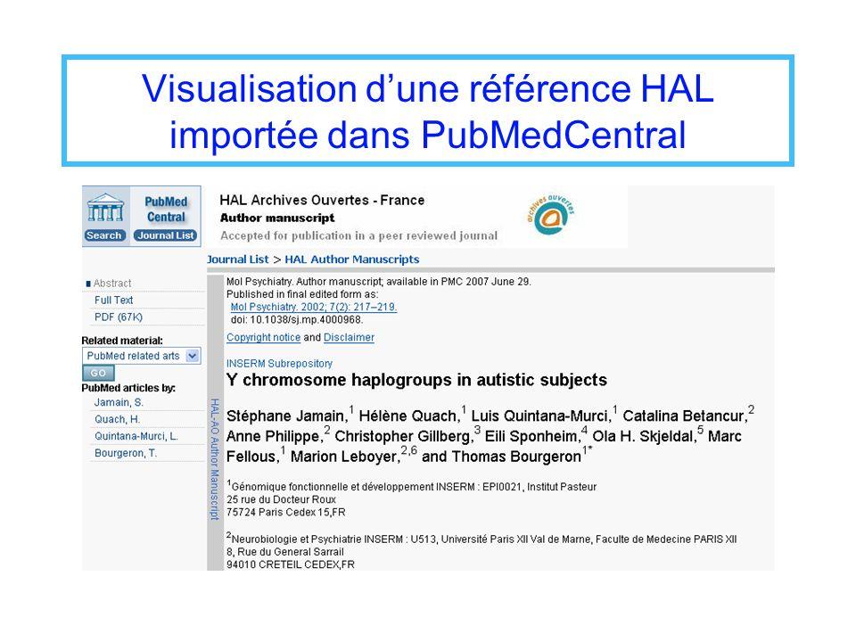 Visualisation dune référence HAL importée dans PubMedCentral