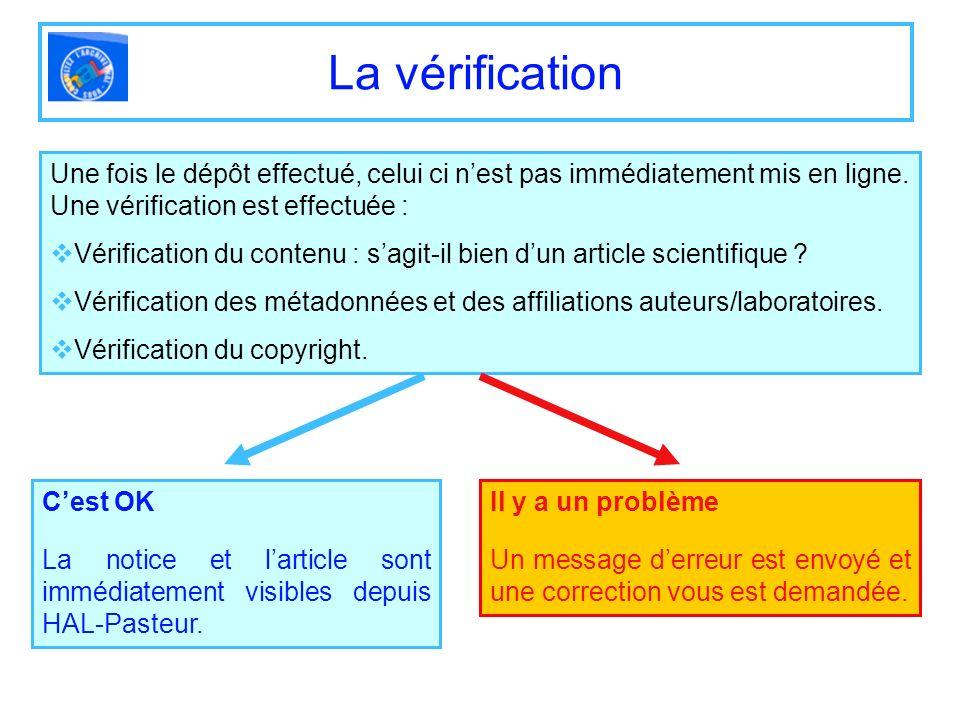 La vérification Une fois le dépôt effectué, celui ci nest pas immédiatement mis en ligne. Une vérification est effectuée : Vérification du contenu : s
