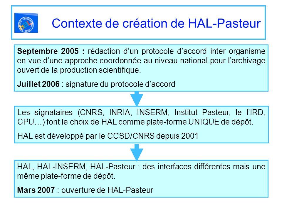 Contexte de création de HAL-Pasteur Septembre 2005 : rédaction dun protocole daccord inter organisme en vue dune approche coordonnée au niveau nationa