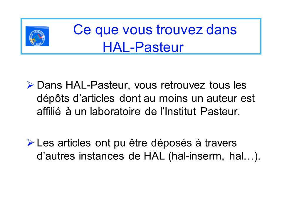Dans HAL-Pasteur, vous retrouvez tous les dépôts darticles dont au moins un auteur est affilié à un laboratoire de lInstitut Pasteur. Les articles ont