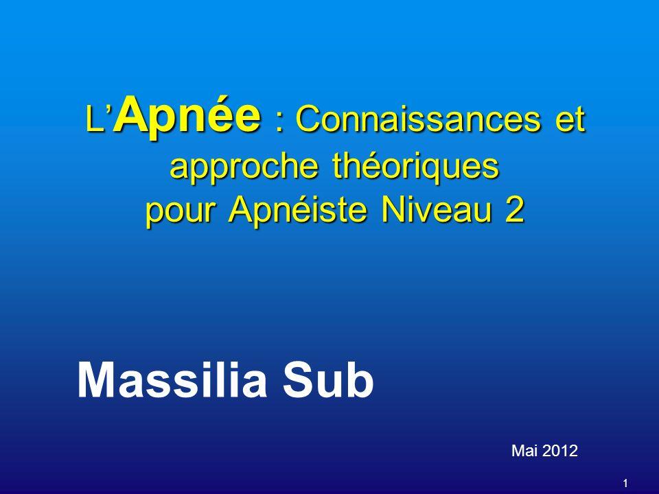 1 L Apnée : Connaissances et approche théoriques pour Apnéiste Niveau 2 Mai 2012 Massilia Sub
