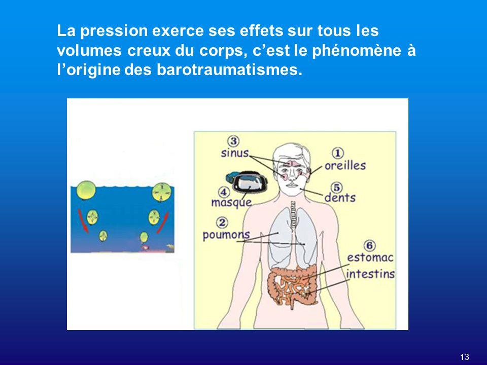13 La pression exerce ses effets sur tous les volumes creux du corps, cest le phénomène à lorigine des barotraumatismes.