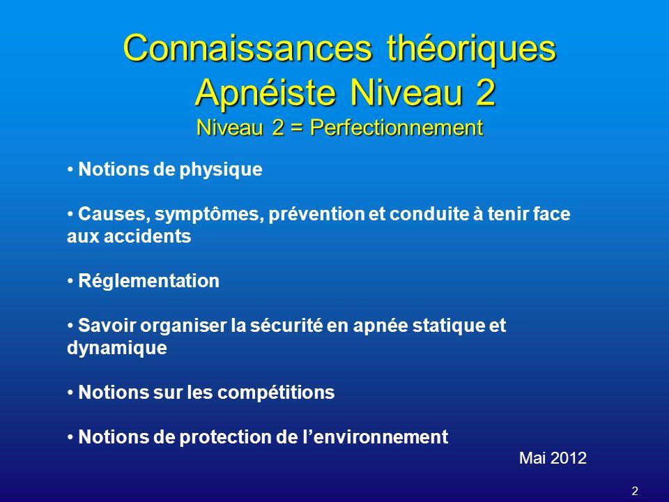 2 Connaissances théoriques Apnéiste Niveau 2 Niveau 2 = Perfectionnement Mai 2012 Notions de physique Causes, symptômes, prévention et conduite à teni