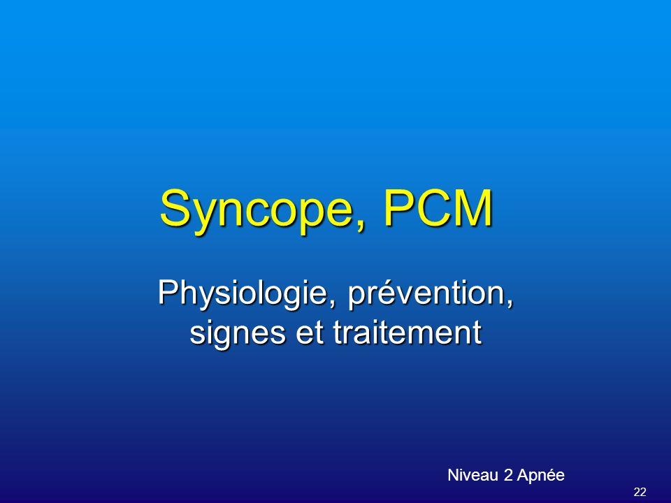 22 Syncope, PCM Niveau 2 Apnée Physiologie, prévention, signes et traitement