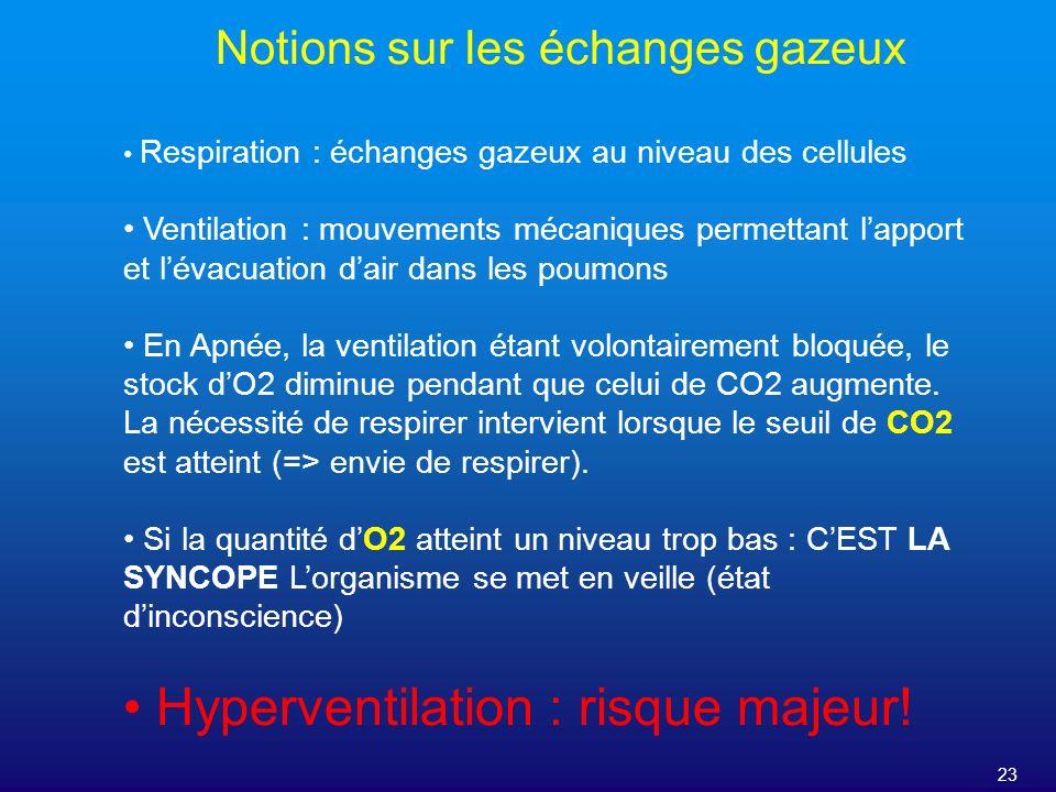 23 Notions sur les échanges gazeux Respiration : échanges gazeux au niveau des cellules Ventilation : mouvements mécaniques permettant lapport et léva