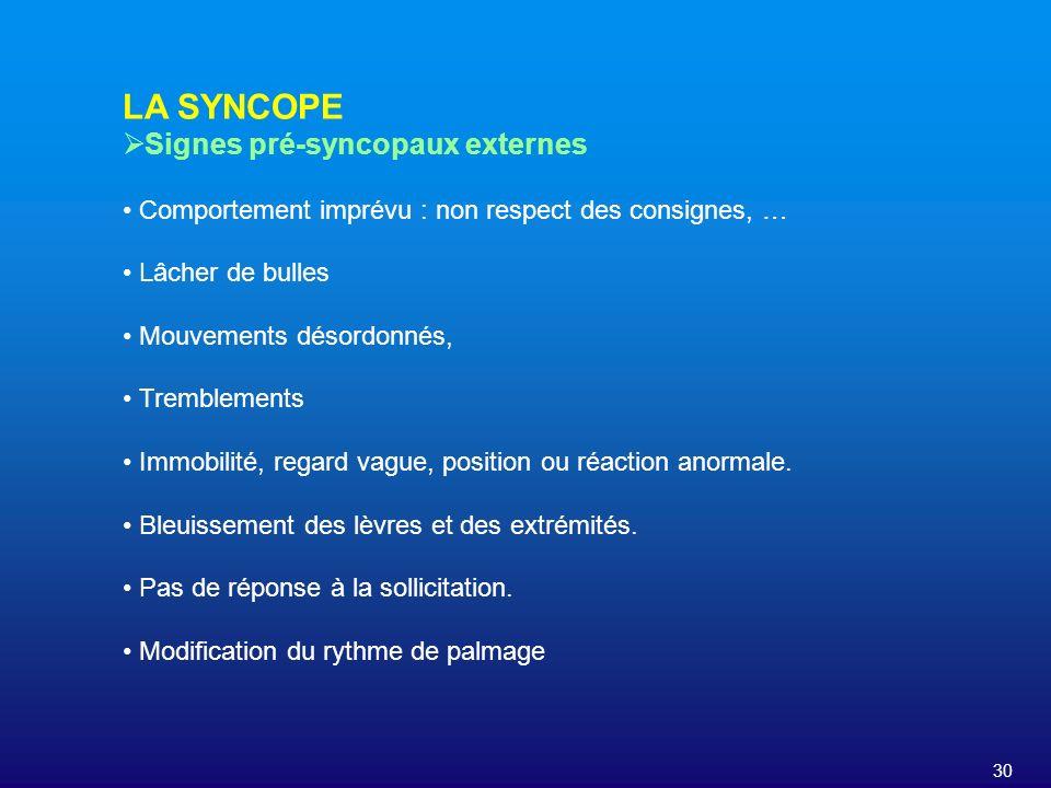 30 LA SYNCOPE Signes pré-syncopaux externes Comportement imprévu : non respect des consignes, … Lâcher de bulles Mouvements désordonnés, Tremblements