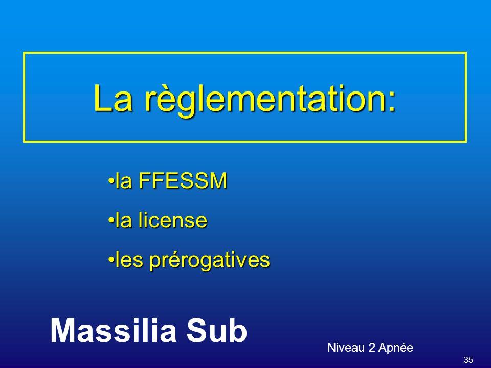 35 La règlementation: Niveau 2 Apnée Massilia Sub la FFESSMla FFESSM la licensela license les prérogativesles prérogatives