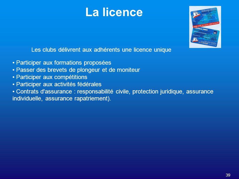 39 La licence Participer aux formations proposées Passer des brevets de plongeur et de moniteur Participer aux compétitions Participer aux activités f