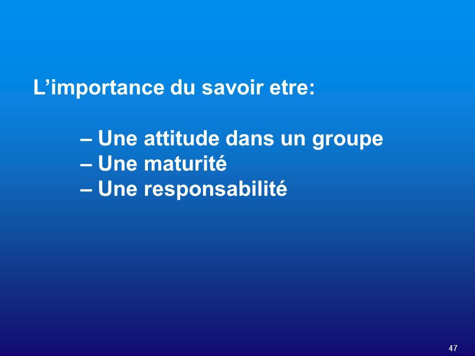 47 Limportance du savoir etre: – Une attitude dans un groupe – Une maturité – Une responsabilité