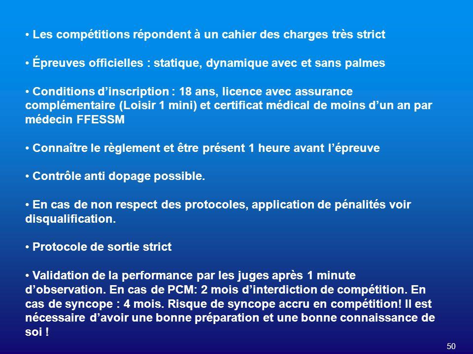 50 Les compétitions répondent à un cahier des charges très strict Épreuves officielles : statique, dynamique avec et sans palmes Conditions dinscripti