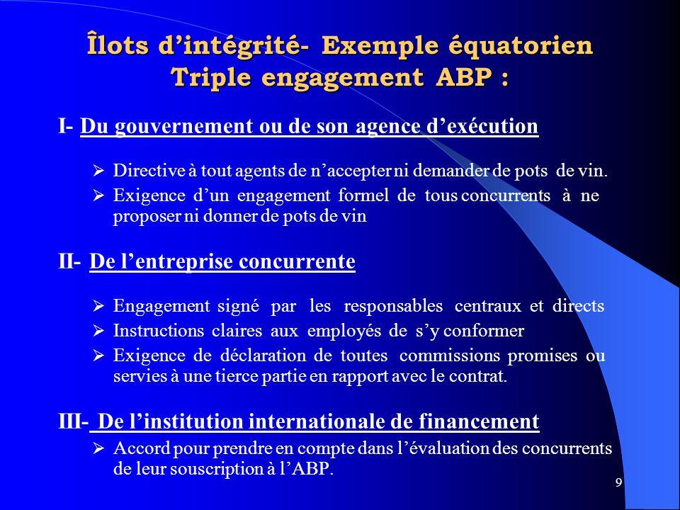 9 Îlots dintégrité- Exemple équatorien Triple engagement ABP : I- Du gouvernement ou de son agence dexécution Directive à tout agents de naccepter ni demander de pots de vin.