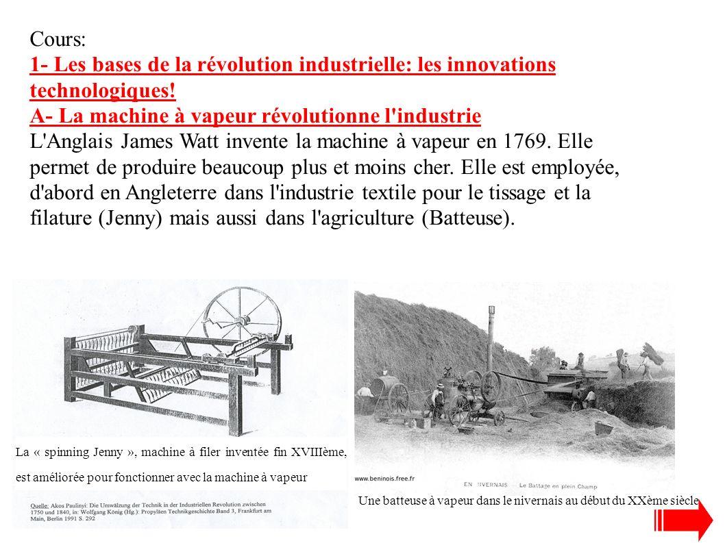 Clique sur l'image pour voir fonctionner la machine à vapeur dans une usine textile puis décris en quelques lignes le processus de la machine à vapeur