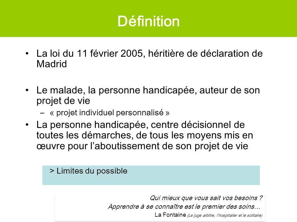 Définition La loi du 11 février 2005, héritière de déclaration de Madrid Le malade, la personne handicapée, auteur de son projet de vie –« projet indi