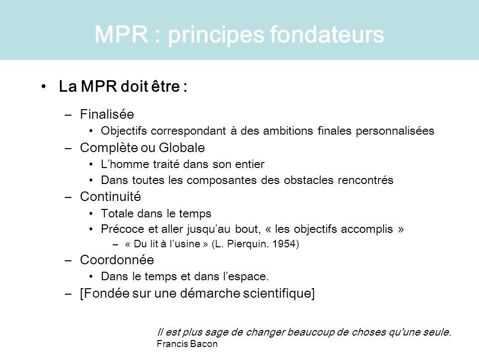 MPR : principes fondateurs La MPR doit être : –Finalisée Objectifs correspondant à des ambitions finales personnalisées –Complète ou Globale Lhomme tr