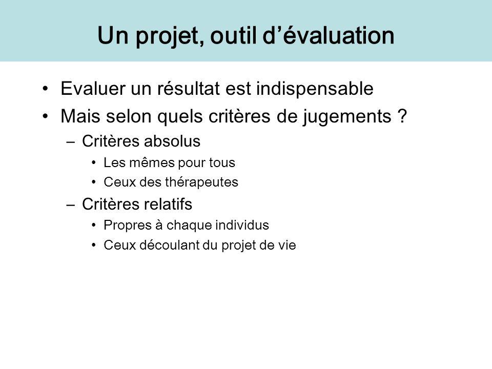 Un projet, outil dévaluation Evaluer un résultat est indispensable Mais selon quels critères de jugements ? –Critères absolus Les mêmes pour tous Ceux
