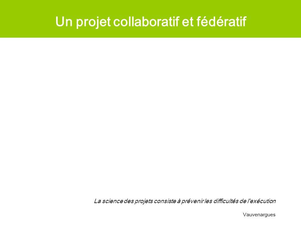 Un projet collaboratif et fédératif La science des projets consiste à prévenir les difficultés de l'exécution Vauvenargues