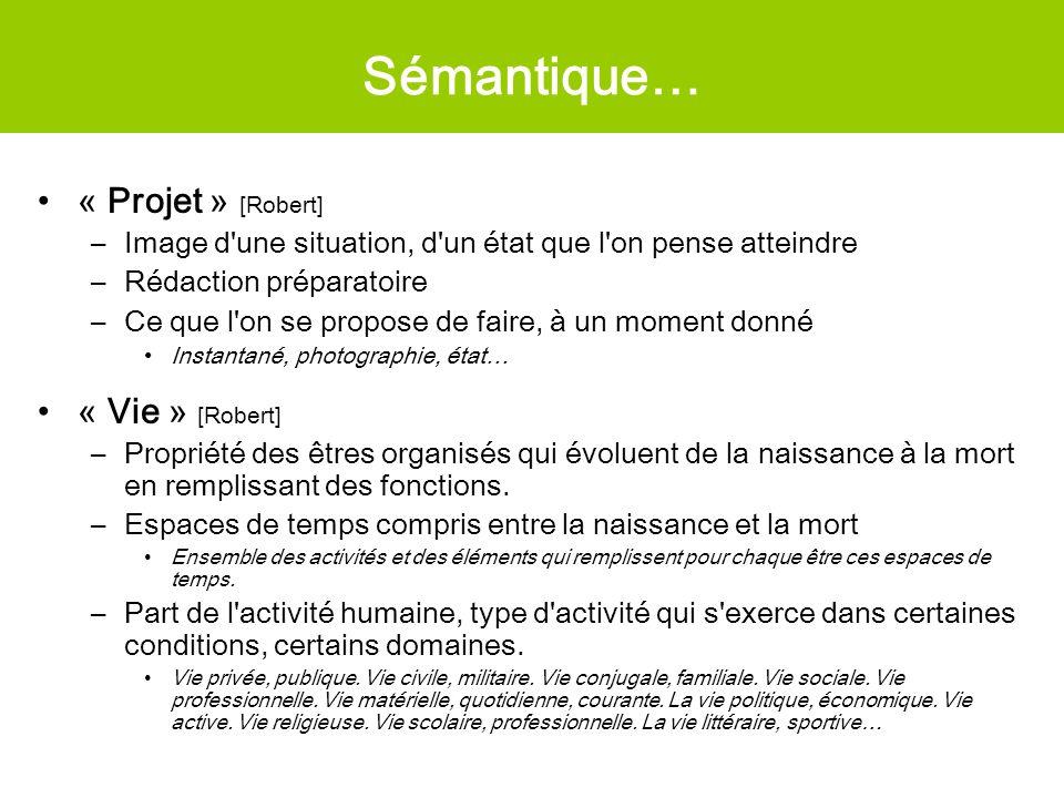 Sémantique… « Projet » [Robert] –Image d'une situation, d'un état que l'on pense atteindre –Rédaction préparatoire –Ce que l'on se propose de faire, à