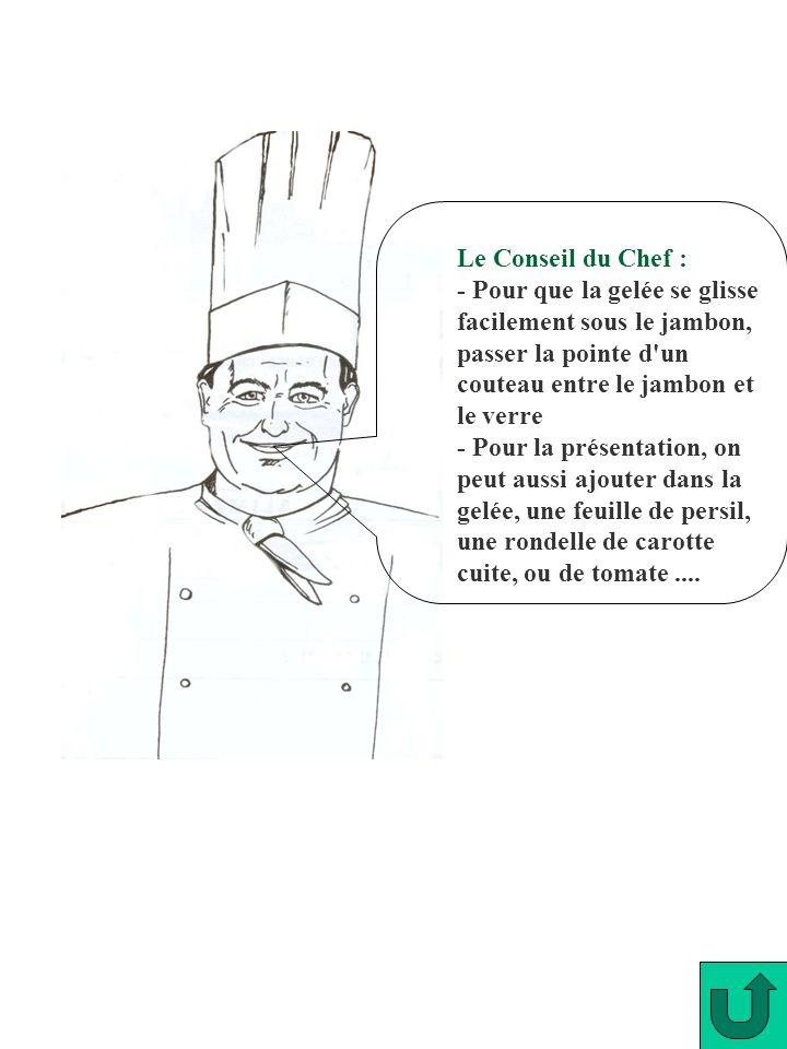 Le Conseil du Chef : - Pour que la gelée se glisse facilement sous le jambon, passer la pointe d'un couteau entre le jambon et le verre - Pour la prés