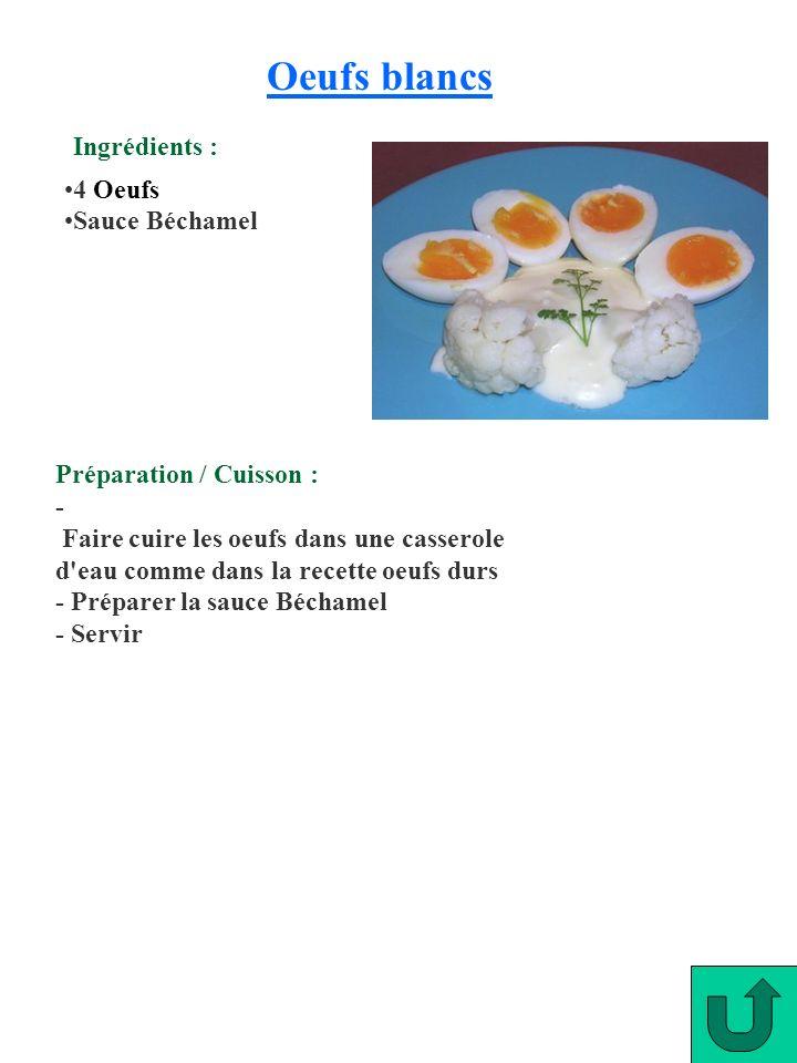 Oeufs blancs 4 Oeufs Sauce Béchamel Préparation / Cuisson : - Faire cuire les oeufs dans une casserole d'eau comme dans la recette oeufs durs - Prépar
