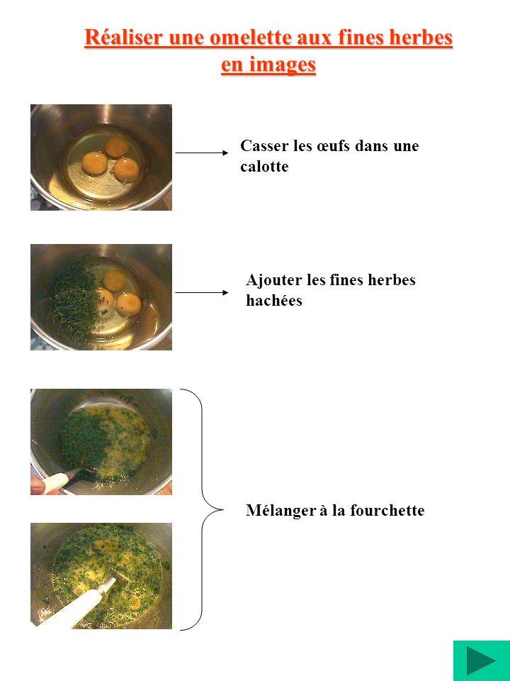Réaliser une omelette aux fines herbes en images Casser les œufs dans une calotte Ajouter les fines herbes hachées Mélanger à la fourchette