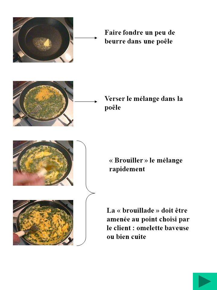 Faire fondre un peu de beurre dans une poêle Verser le mélange dans la poêle « Brouiller » le mélange rapidement La « brouillade » doit être amenée au