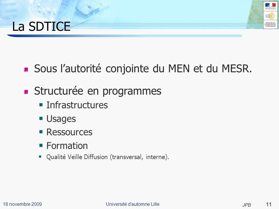 11 JPB Université d automne Lille18 novembre 2009 La SDTICE Sous lautorité conjointe du MEN et du MESR.